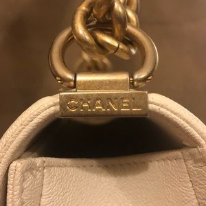 CHANEL Bags - Chanel Small Le Boy White Gold Caviar Bag